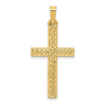 14k Polished Lattice Textured Cross Pendant