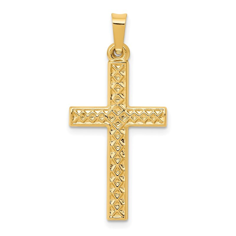 Quality Gold 14k Polished Lattice Textured Cross Pendant