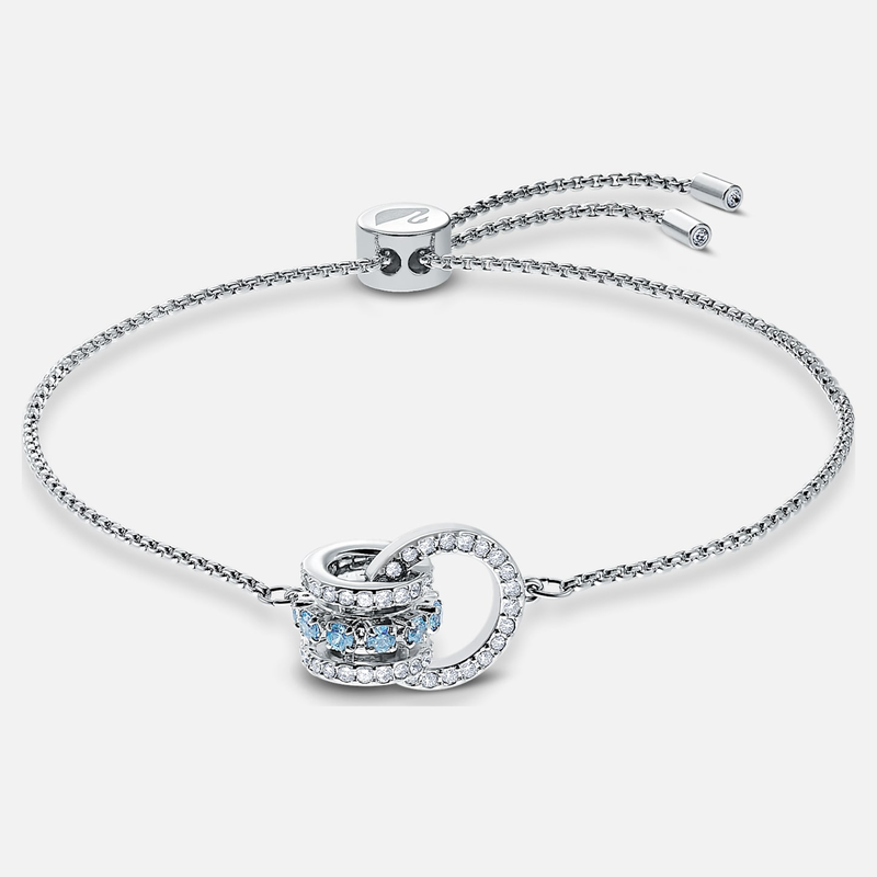 Swarovski Further Bracelet, Blue, Rhodium plated