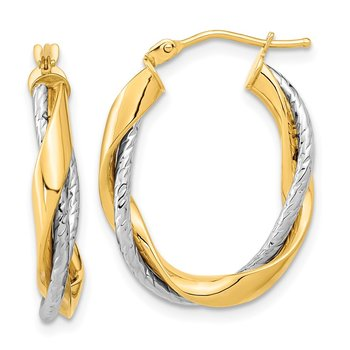 14k Two-tone Polished Rope Twisted Oval Hoop Earrings