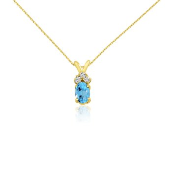 14K Yellow Gold Oval Blue Topaz Pendant with Diamonds