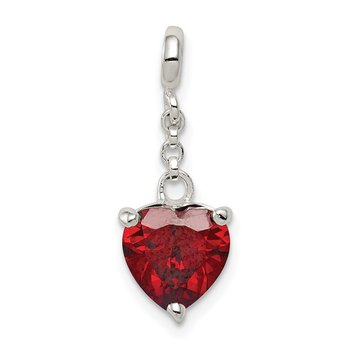 Sterling Silver Dark Red CZ Heart 1/2in Dangle Enhancer
