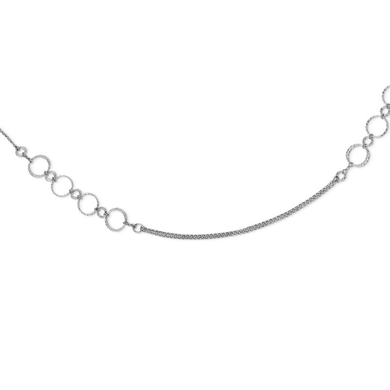 Quality Gold Sterling Silver Rhodium-plated Diamond-cut Circles Necklace