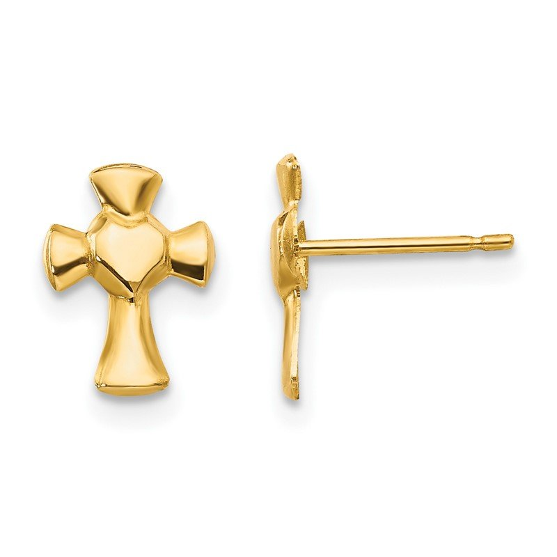 Quality Gold 14k Madi K Heart Cross Post Earrings