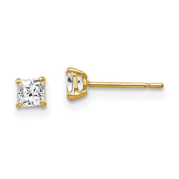 14k 3mm Square CZ Post Earrings