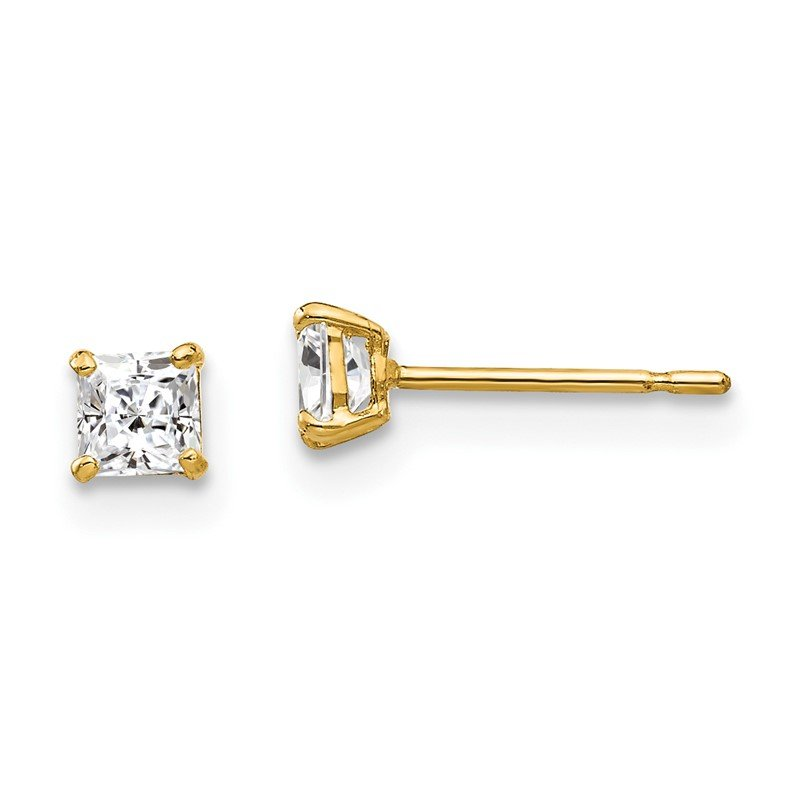 Quality Gold 14k 3mm Square CZ Post Earrings