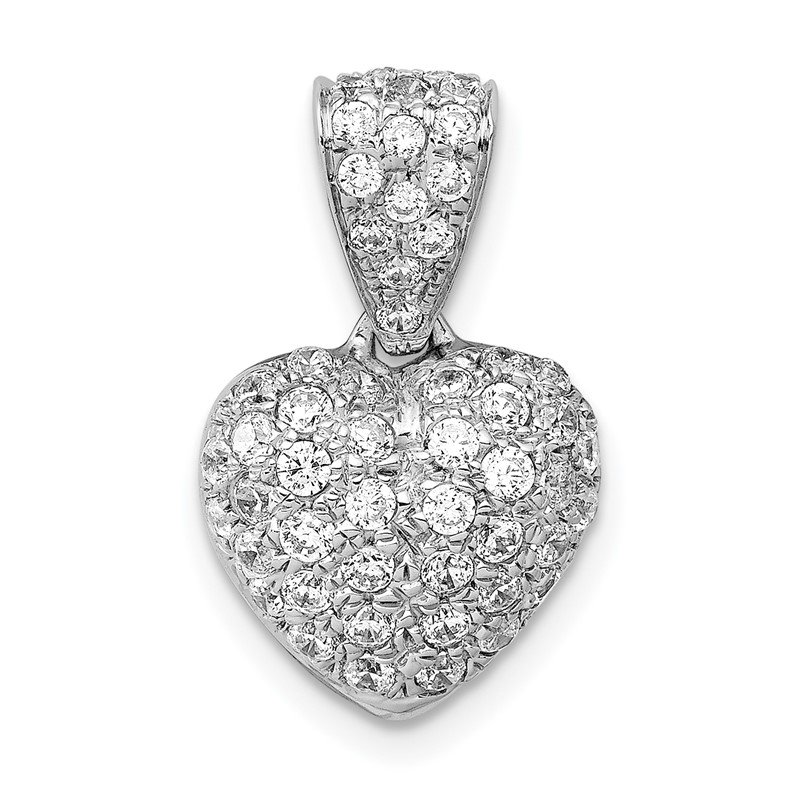 Quality Gold 14k White Gold 3/4ct. Diamond Heart Pendant