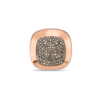 18Kt Gold Large Ring With Brown Diamonds