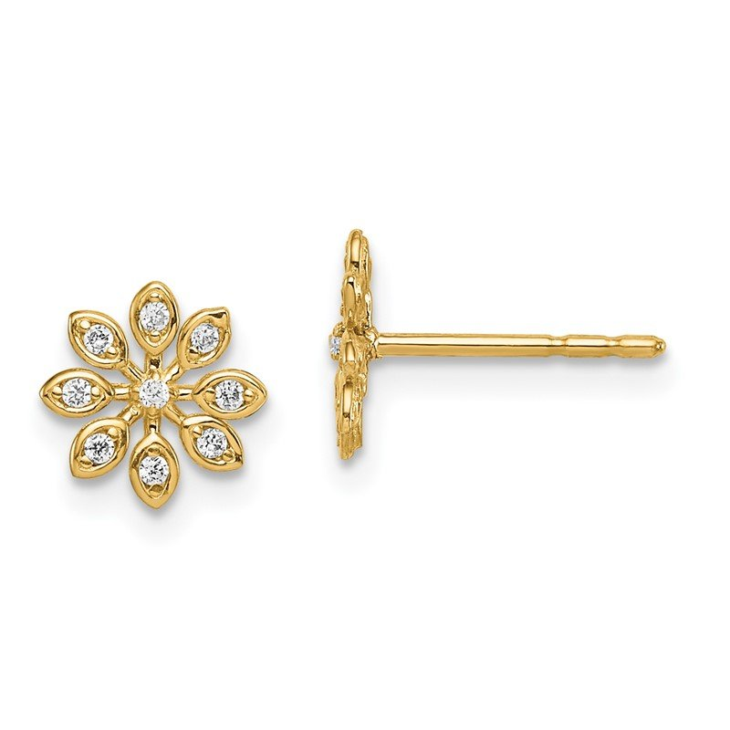Quality Gold 14k Madi K CZ Flower Post Earrings