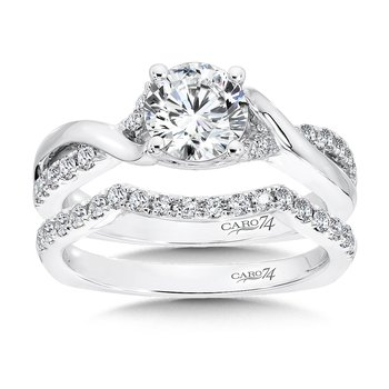 Criss Cross Engagement Ring with Side Stones in 14K White Gold with Platinum Head (1ct. tw.)