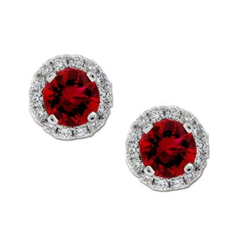 Ruby & Diamond Halo Studs
