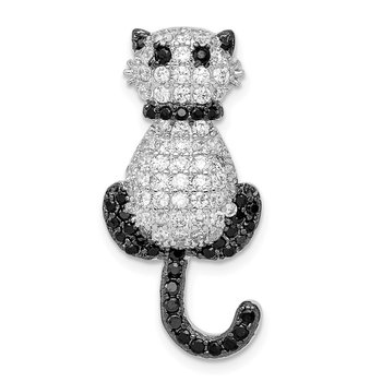 Sterling Silver Rhodium-plated CZ Cat Slide Pendant