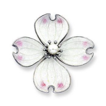 White Dogwood Brooch-Pendant.Sterling Silver-Akoya Pearl