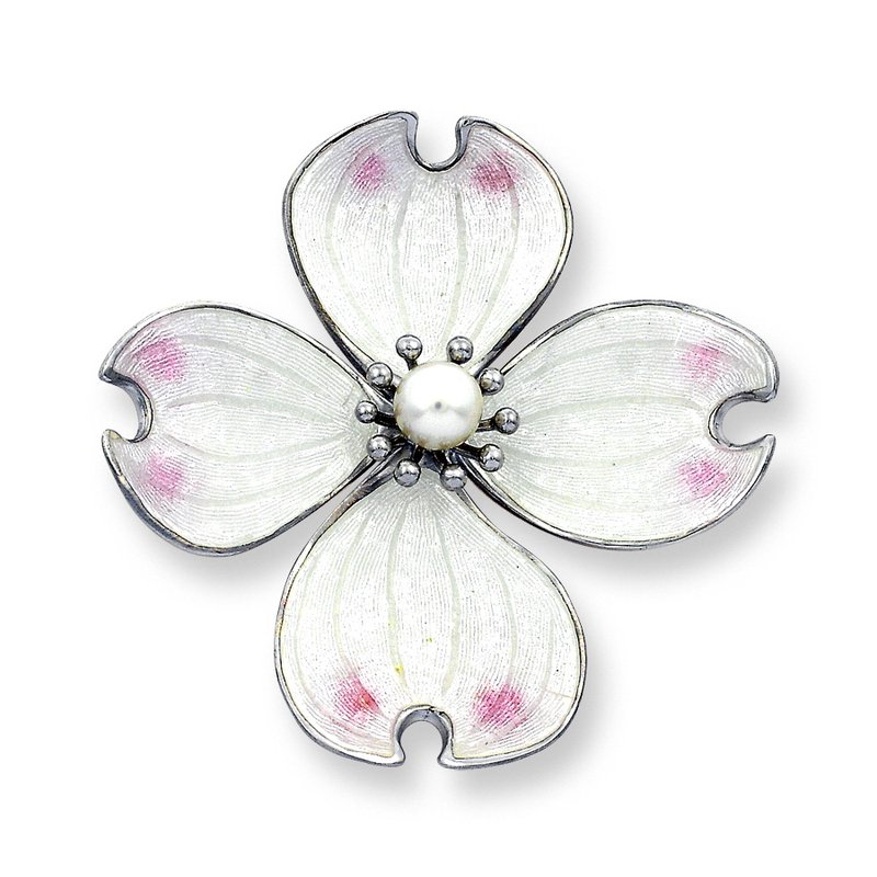 Nicole Barr Designs White Dogwood Brooch-Pendant.Sterling Silver-Akoya Pearl