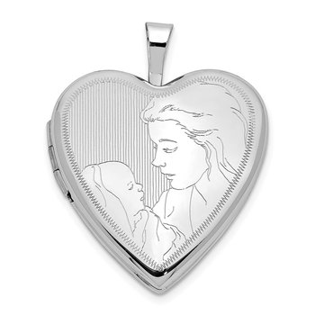 14K 20mm White Gold Mother and Child Heart Locket