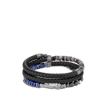 Classic Chain Wrap Bracelet in Silver, Leather, Gemstone