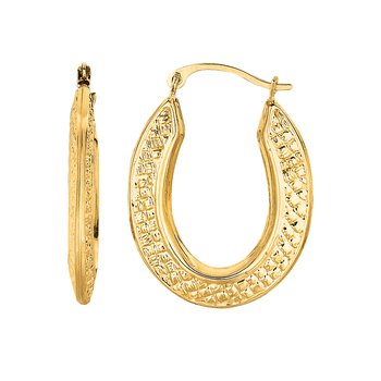 10K Gold Medium Oval Diamond Cut Hinged Hoop Earring
