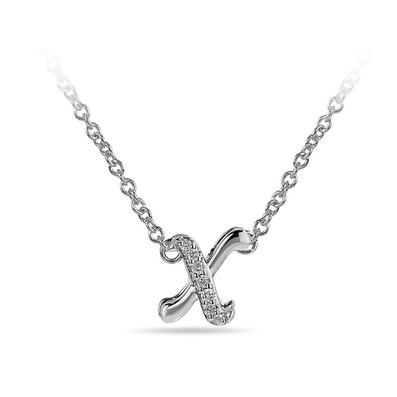 "BB Impex 10K WG and diamond cursive alphabet X ""Chain Sliding "" pendant in prong setting"