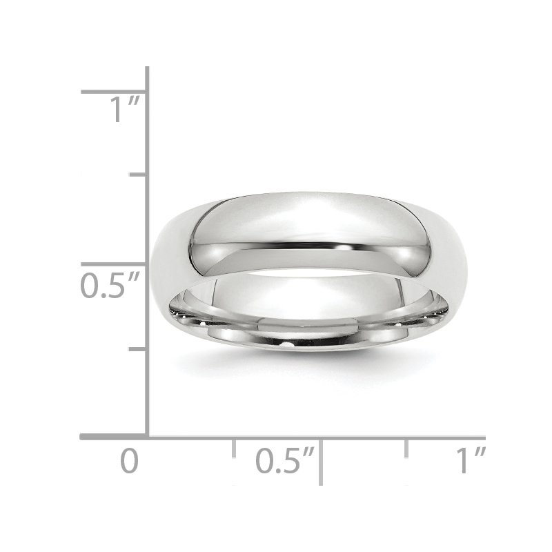 Quality Gold 14k White Gold 6mm Comfort-Fit Band