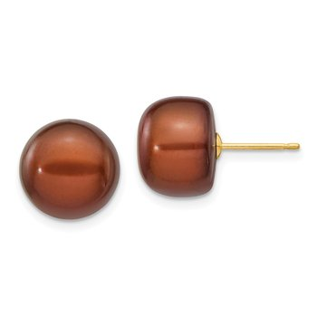 14k 11-12mm Coffee Button Freshwater Cultured Pearl Stud Post Earrings