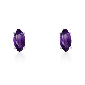 14k White Gold Amethyst Marquise Earrings