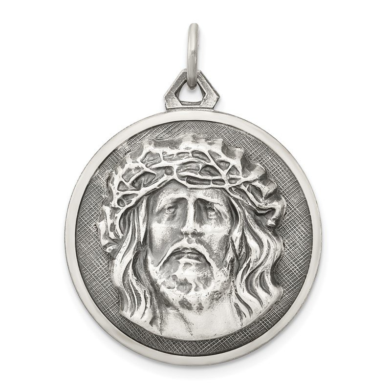 Arizona Diamond Center Collection Sterling Silver Antiqued Ecce Homo Medal