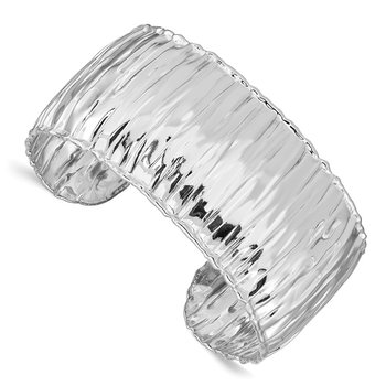 Sterling Silver Rhodium-plated Polish Textured 31.5mm Cuff Bangle