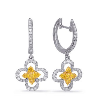 White Gold Yellow Diamond Earring