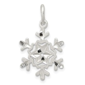Sterling Silver Diamond Cut Snowflake Charm