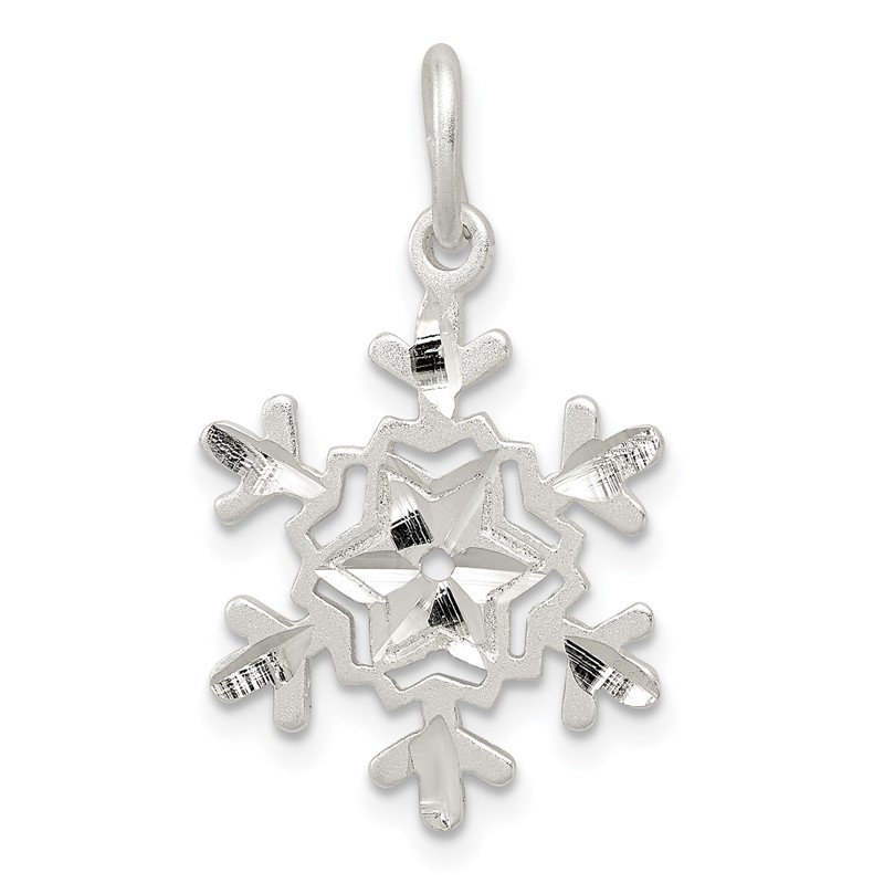 Fine Jewelry by JBD Sterling Silver Diamond Cut Snowflake Charm