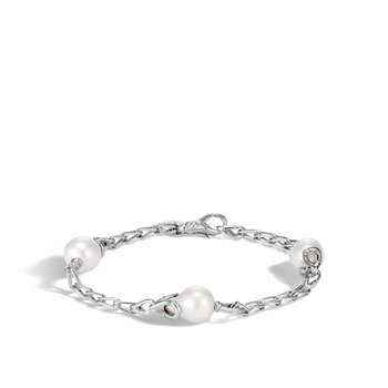 Bamboo Station Bracelet in Silver with 9MM Pearl