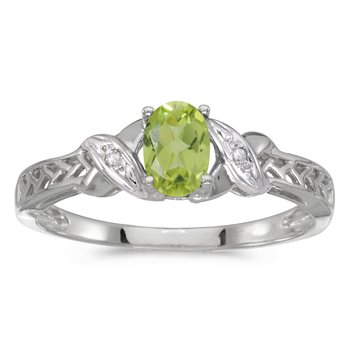 14k White Gold Oval Peridot And Diamond Ring