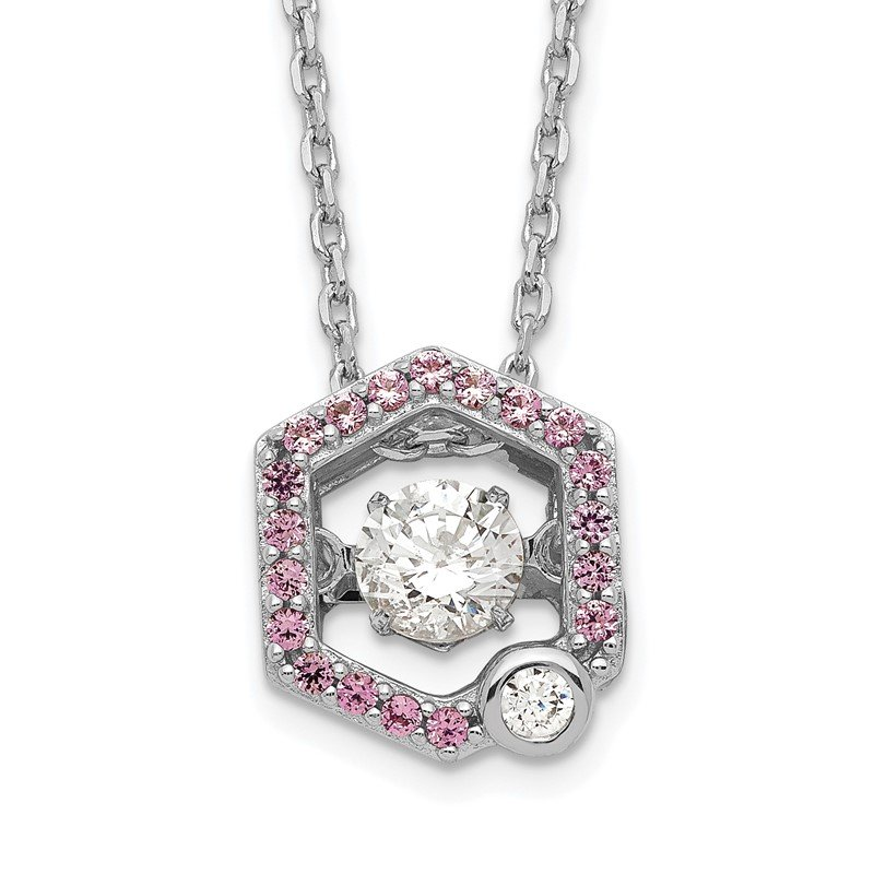 Quality Gold Sterling Silver Rhod-plated Moving CZ w/Pink CZ w/2in ext Necklace