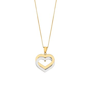 14K Gold Interlocking Hearts Necklace