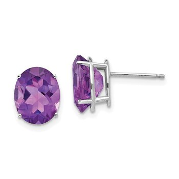 14k White Gold 10x8mm Oval Amethyst Earrings