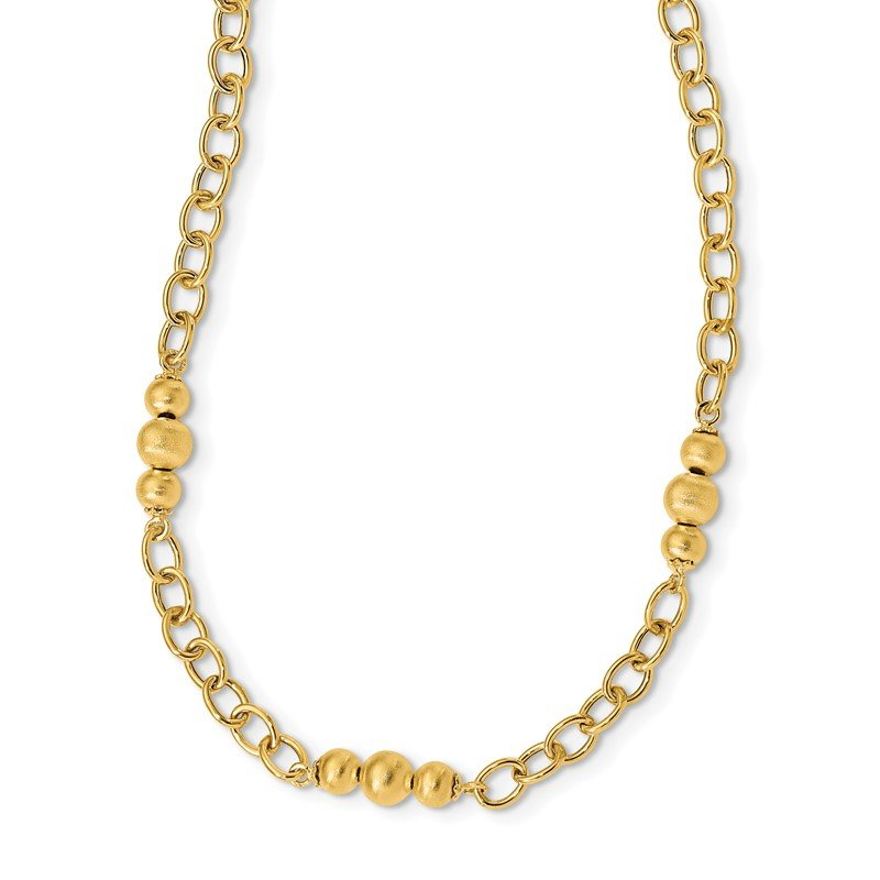 Quality Gold 14K Brushed & Polished Fancy Link Necklace