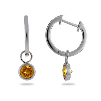14K WG Yellow Citrine Dangling Earring