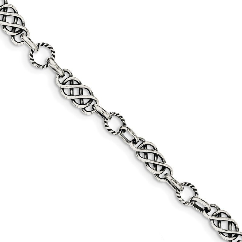 Quality Gold Sterling Silver Antiqued Fancy Link Bracelet