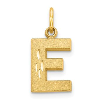 14KY Satin Diamond-cut Letter E Initial Charm