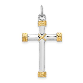 Sterling Silver Rhodium-plated & 18k Gold-plated Rope Cross Pendant