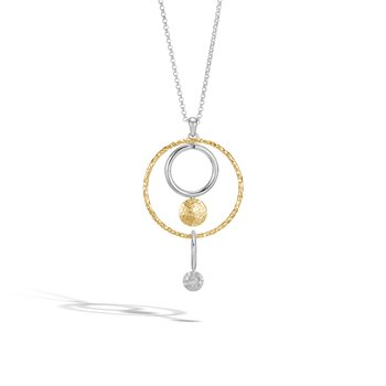 Dot Pendant Necklace in Silver and Hammered 18K Gold