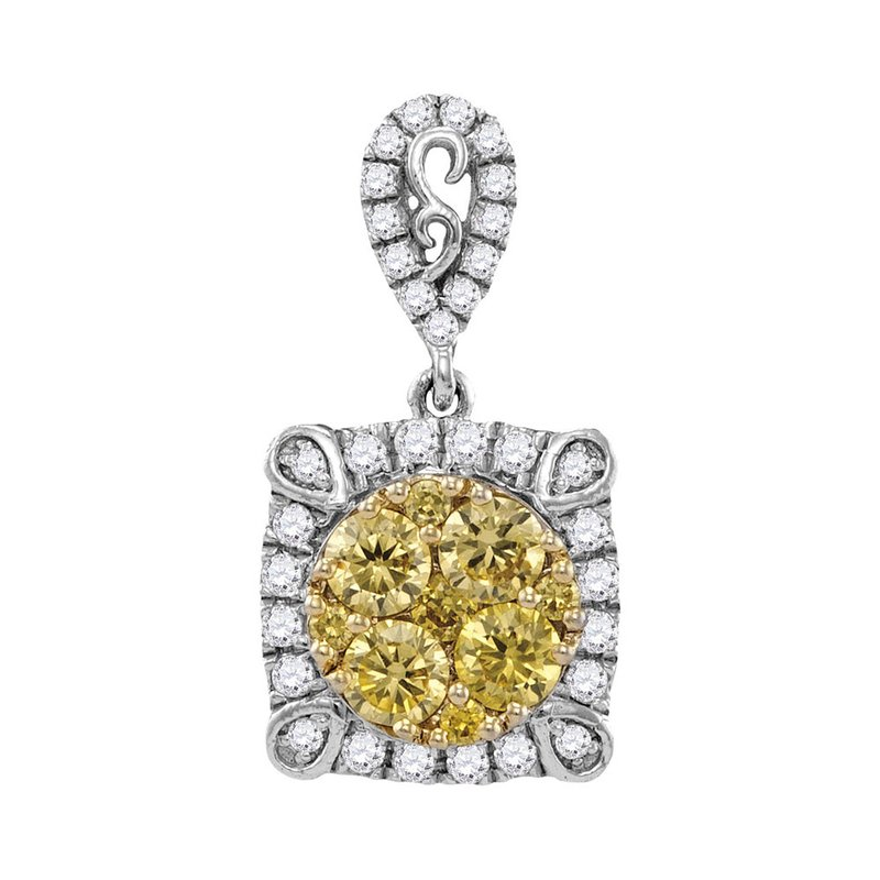 Kingdom Treasures 14kt White Gold Womens Round Canary Yellow Diamond Square Cluster Pendant 3/4 Cttw