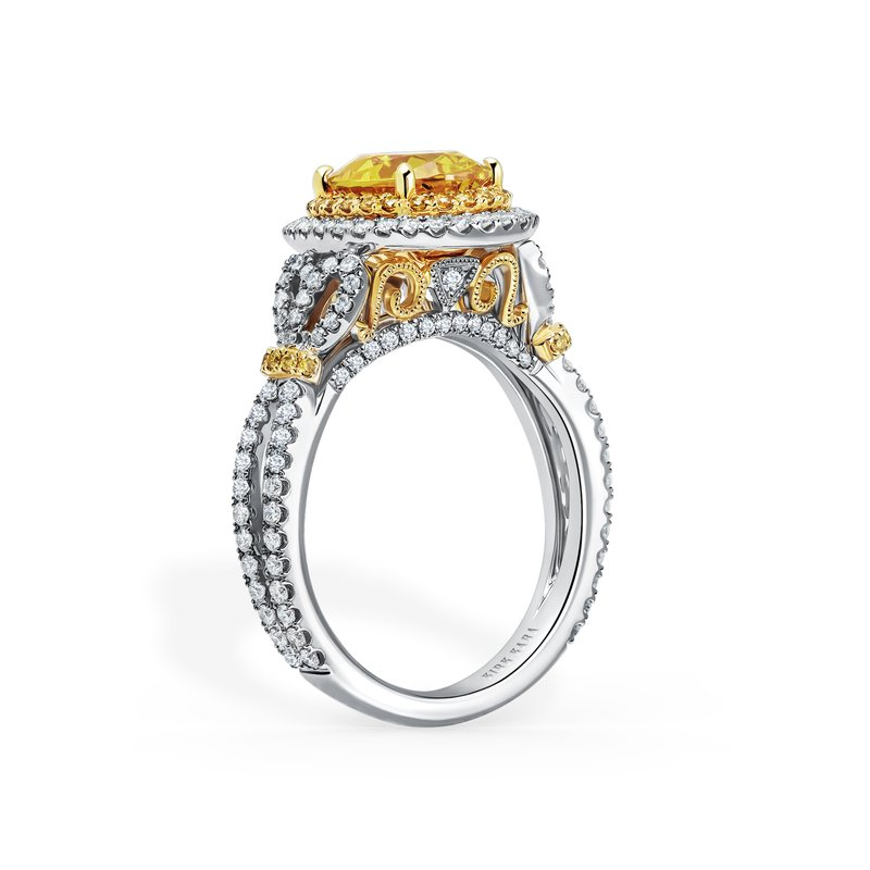 Kirk Kara Halo Two Tone Yellow Diamond Engagement Ring