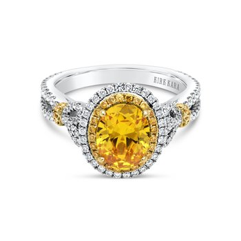 Halo Two Tone Yellow Diamond Engagement Ring