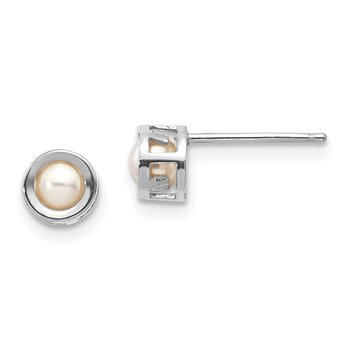 14k White Gold 4mm Bezel June/FW Cultured Pearl Post Earrings