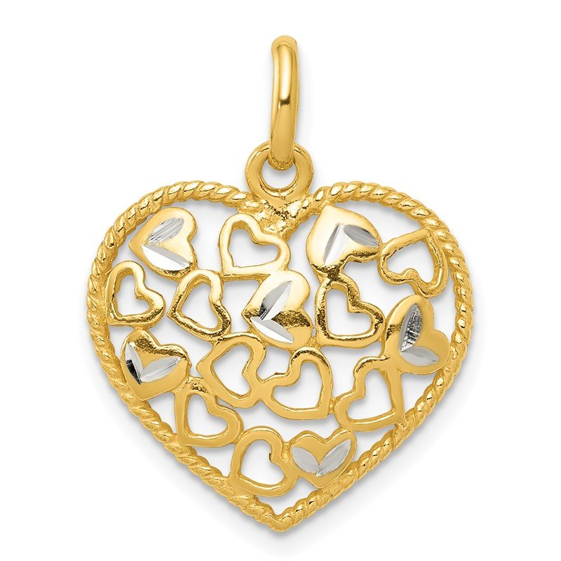 Quality Gold Sterling Silver Polished Flash Gold Diamond-cut Heart Pendant