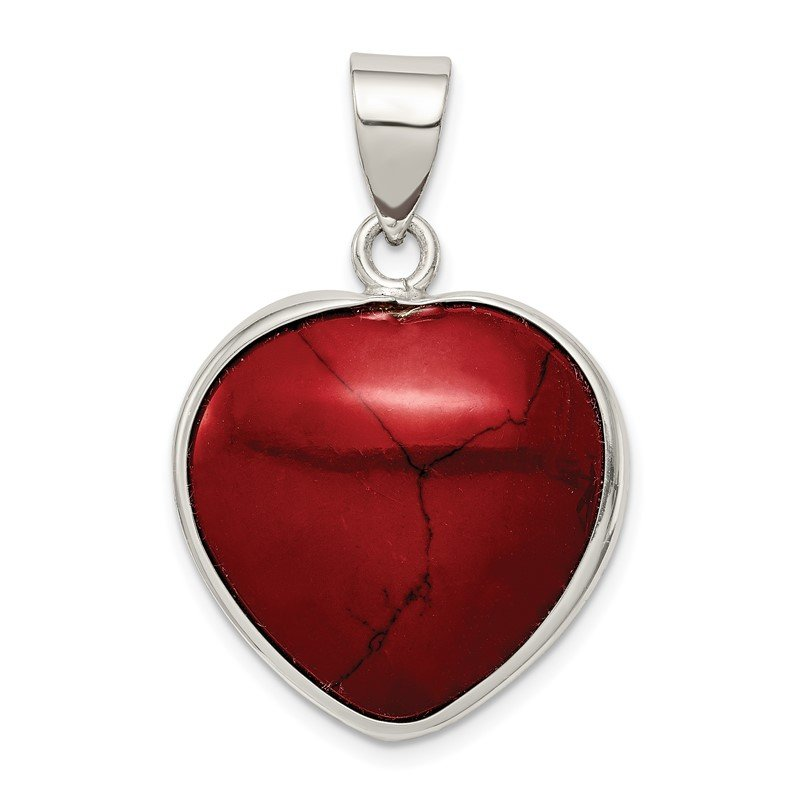 Arizona Diamond Center Collection Sterling Silver Heart Dyed Howlite Pendant