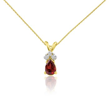 14k Yellow Gold Garnet Pear Pendant with Diamonds
