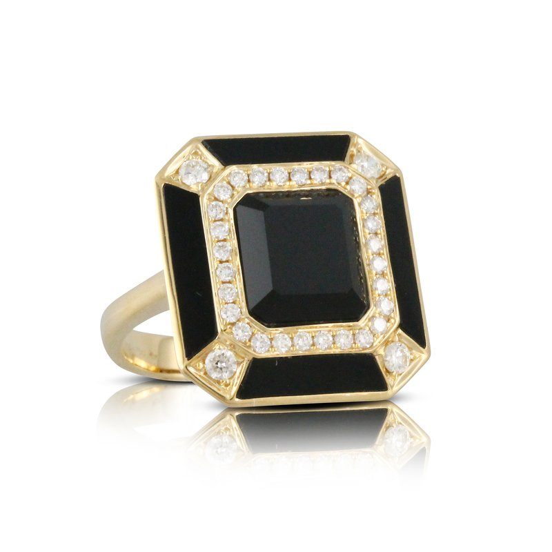 Doves Art Deco Gatsby Onyx & Diamond Ring 18KY