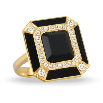 Art Deco Gatsby Onyx & Diamond Ring 18KY
